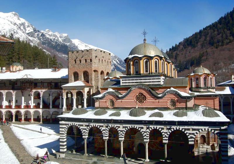 Winter view of the Rila Monastery