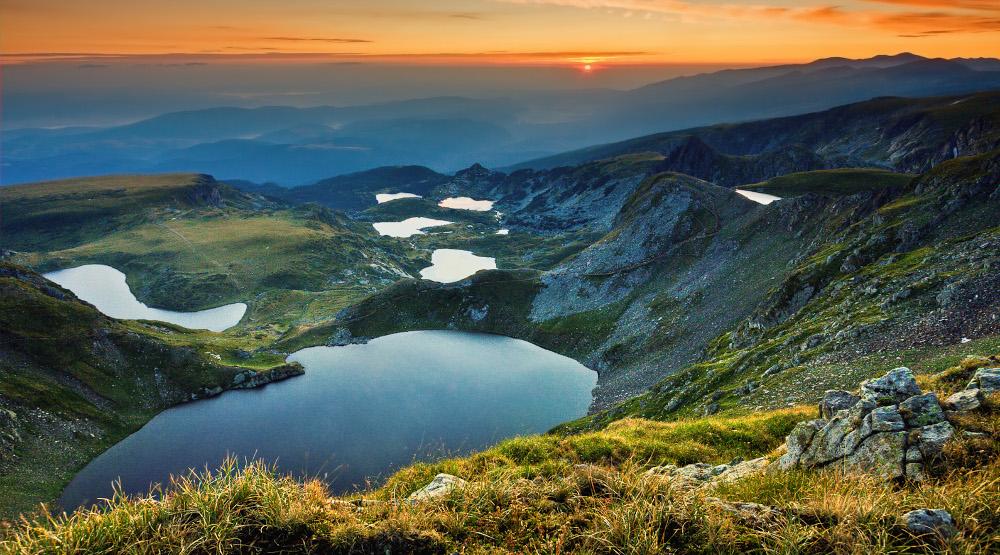 Panoramic view of the 7 Rila Lakes
