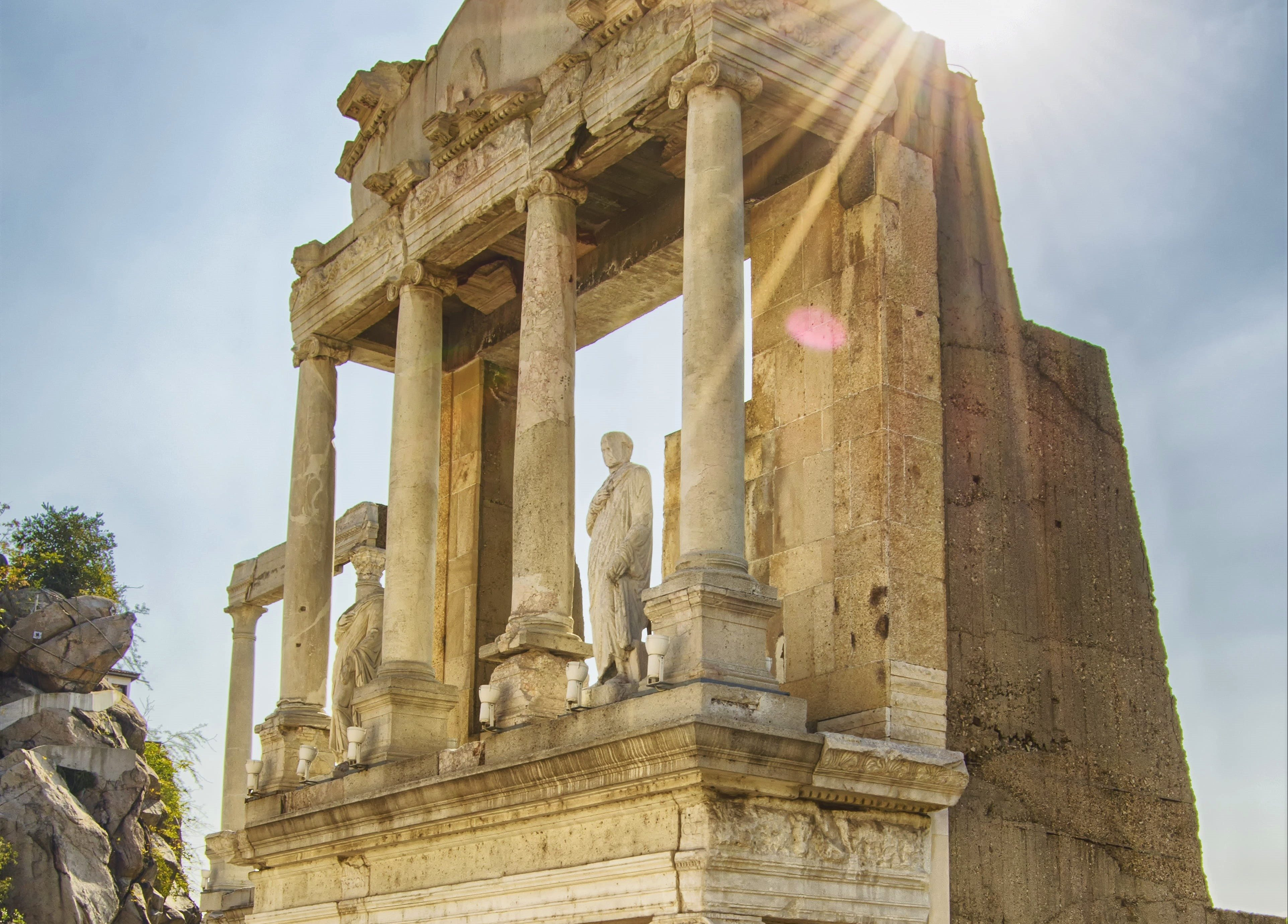 Roman theatre, ancient ruins, Parodos, statue, scaenae frons, stage, sunny